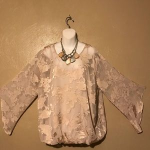 Alfa I pale pink sheer flowered top size 1X